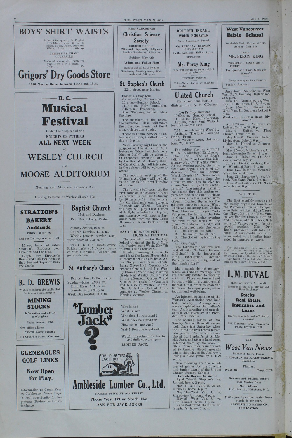 West Van. News (West Vancouver), 4 May 1928
