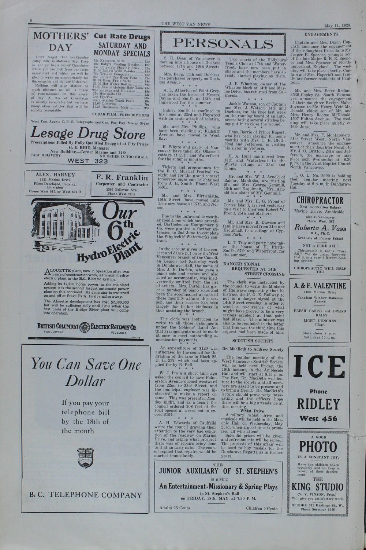 West Van. News (West Vancouver), 11 May 1928