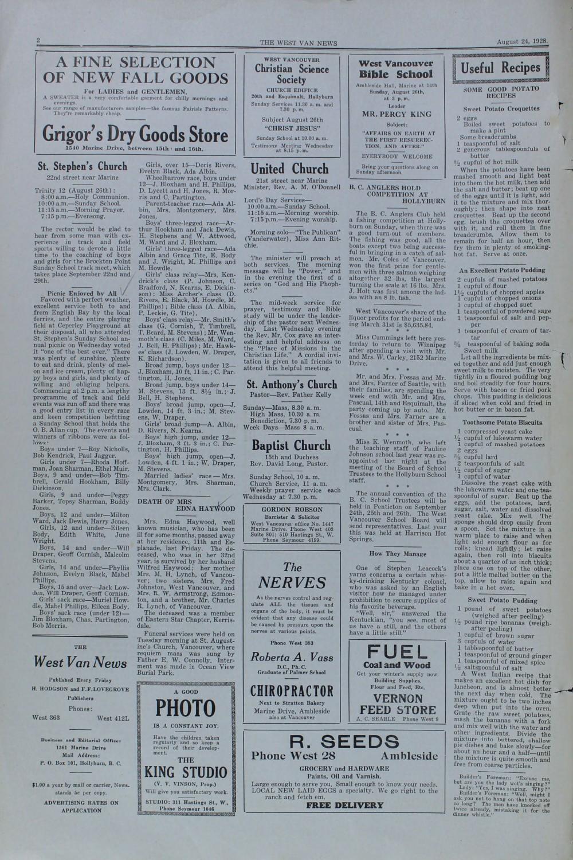 West Van. News (West Vancouver), 24 Aug 1928