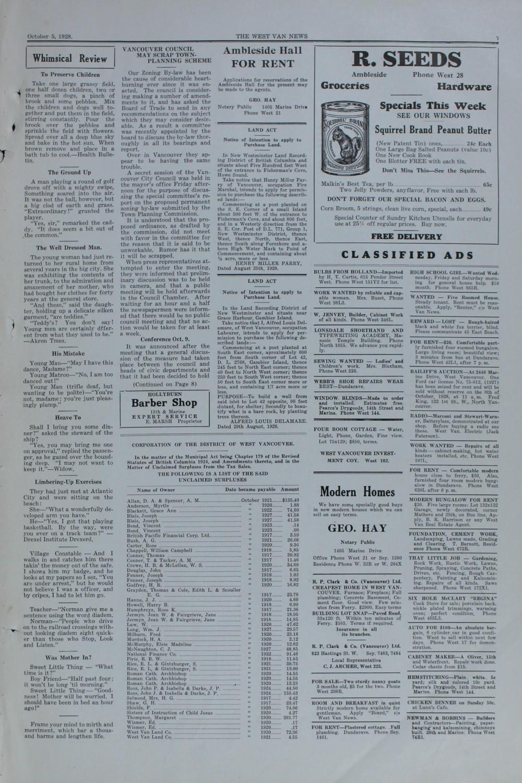 West Van. News (West Vancouver), 5 Oct 1928