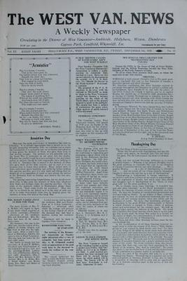 West Van. News (West Vancouver), 9 Nov 1928