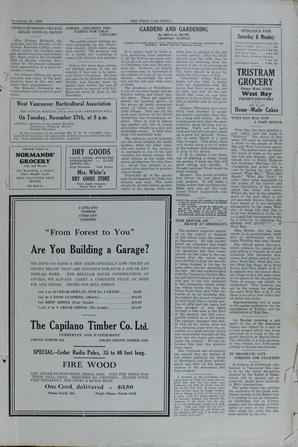 West Van. News (West Vancouver), 23 Nov 1928