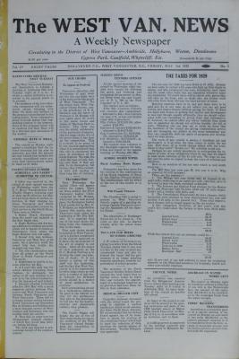 West Van. News (West Vancouver), 3 May 1929