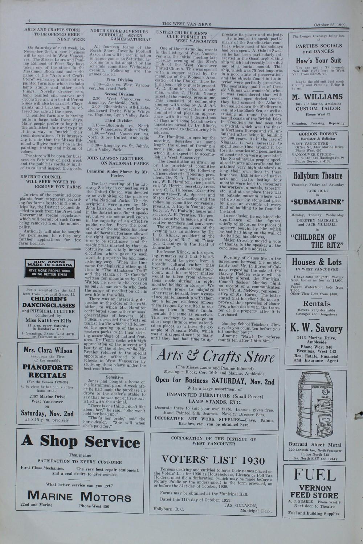West Van. News (West Vancouver), 25 Oct 1929
