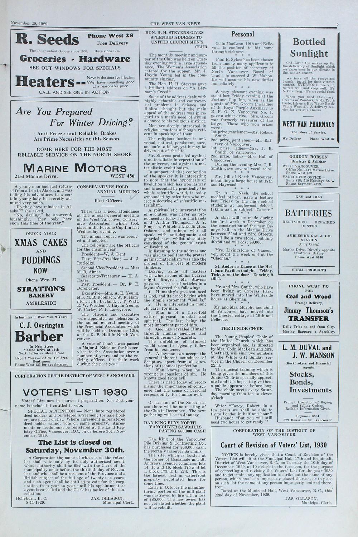 West Van. News (West Vancouver), 29 Nov 1929