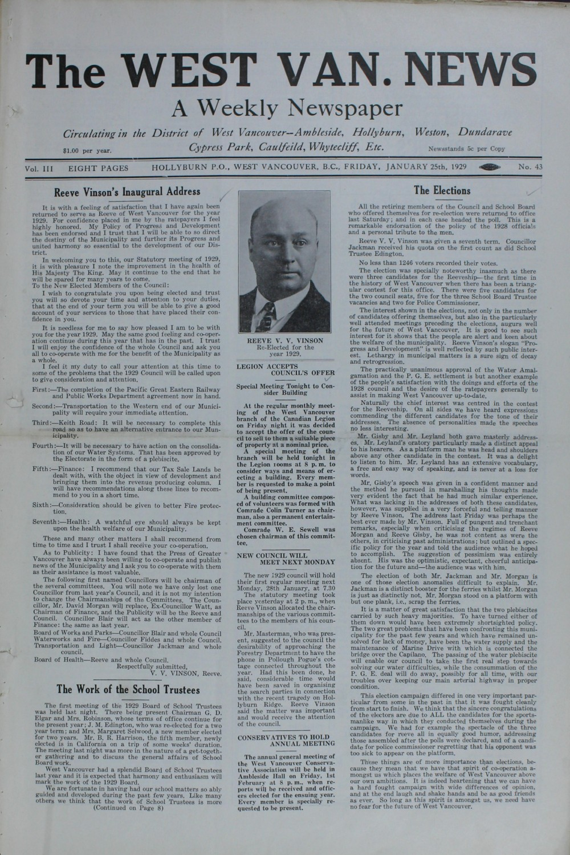 West Van. News (West Vancouver), 25 Jan 1929
