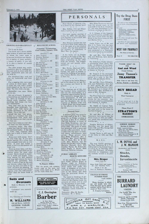 West Van. News (West Vancouver), 7 Feb 1930