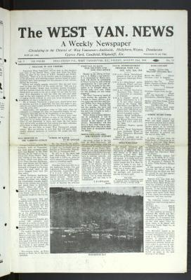 West Van. News (West Vancouver), 22 Aug 1930