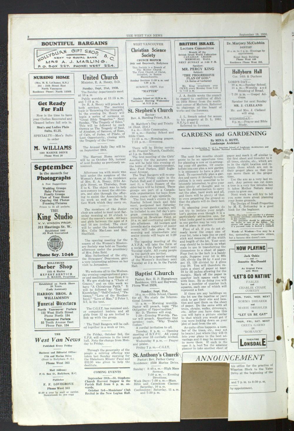 West Van. News (West Vancouver), 19 Sep 1930