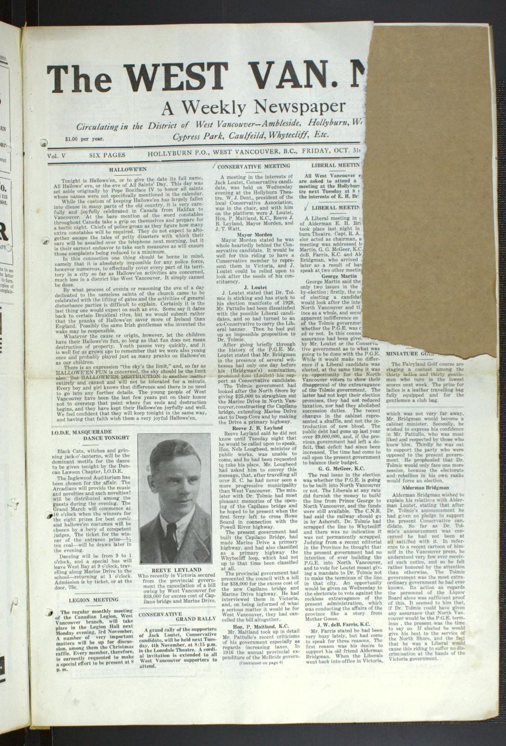 West Van. News (West Vancouver), 31 Oct 1930