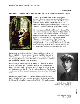 Horace G. Stone: A Short History