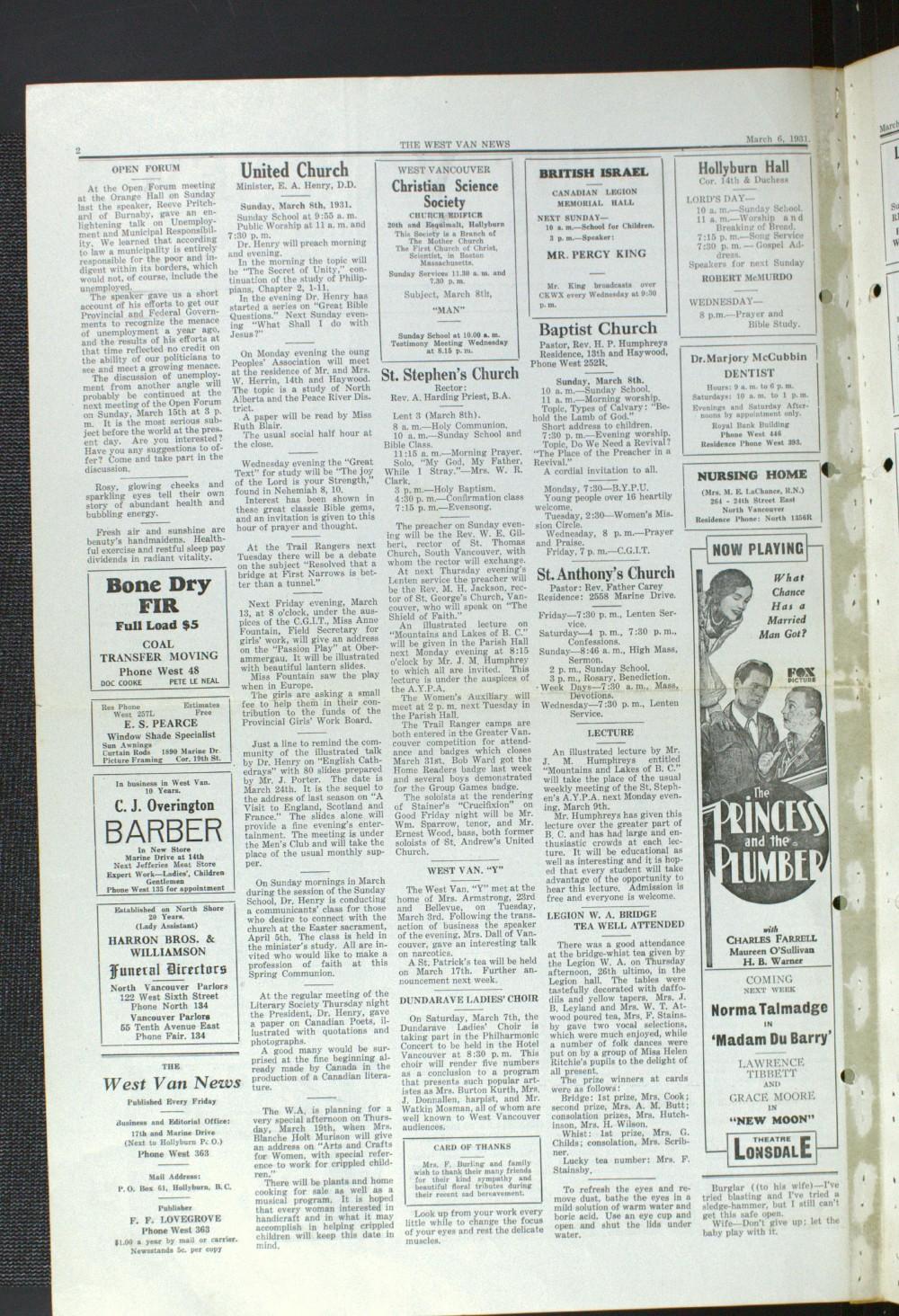 West Van. News (West Vancouver), 6 Mar 1931