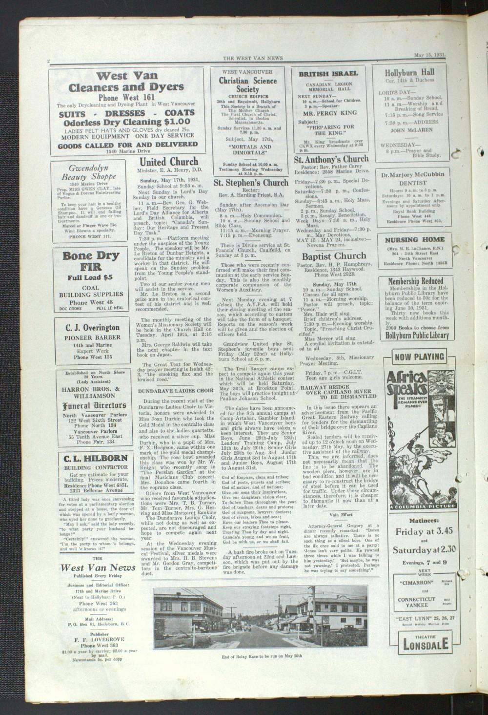 West Van. News (West Vancouver), 15 May 1931