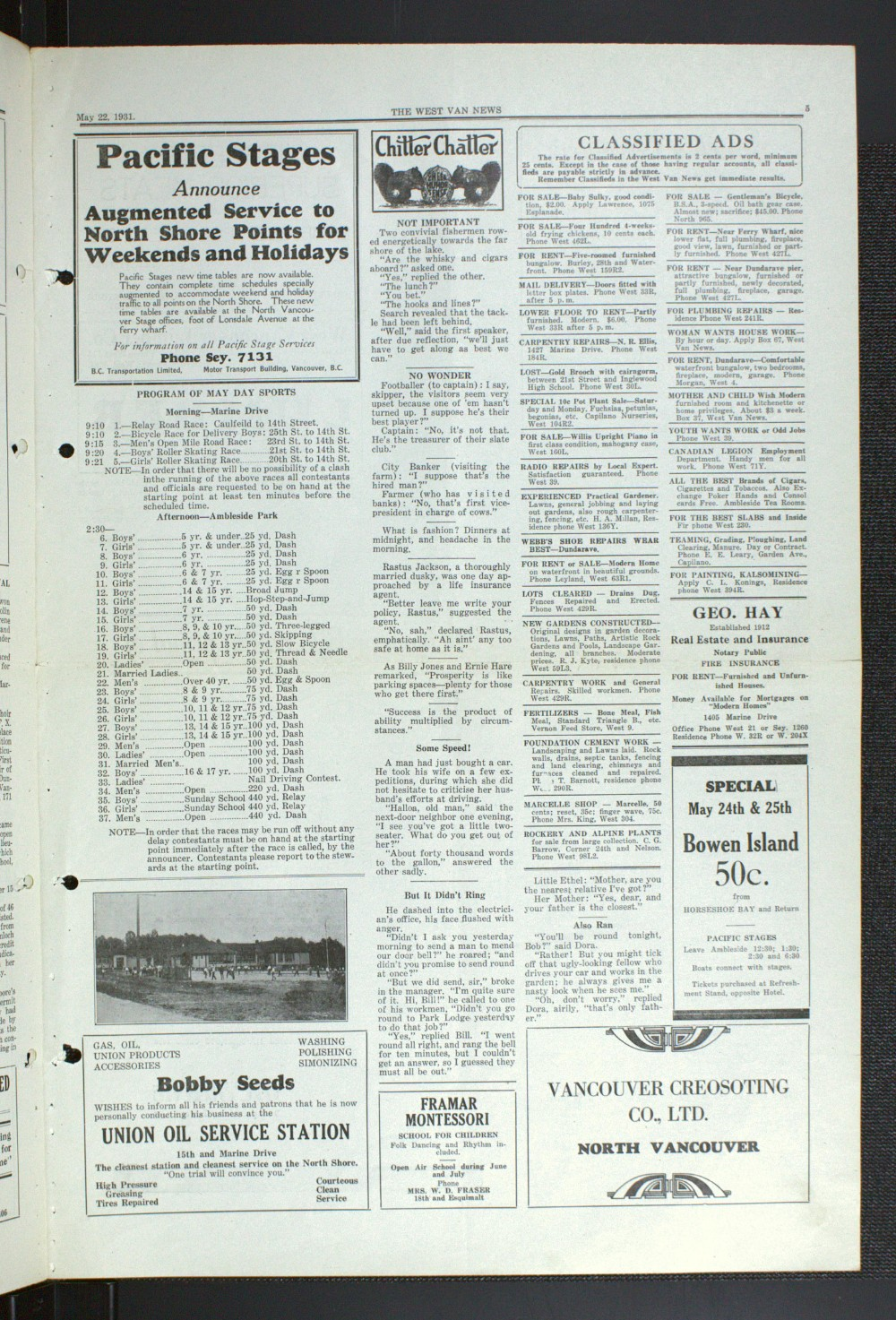 West Van. News (West Vancouver), 22 May 1931