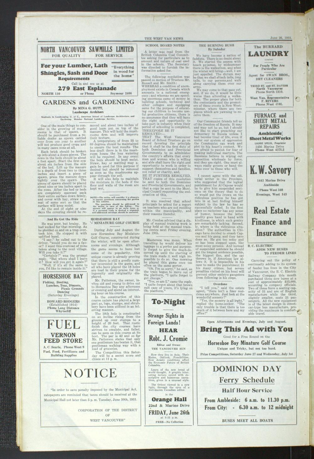 West Van. News (West Vancouver), 26 Jun 1931