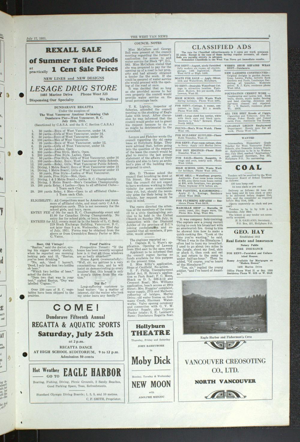 West Van. News (West Vancouver), 17 Jul 1931