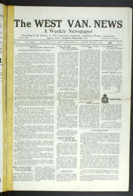 West Van. News (West Vancouver), 7 Aug 1931