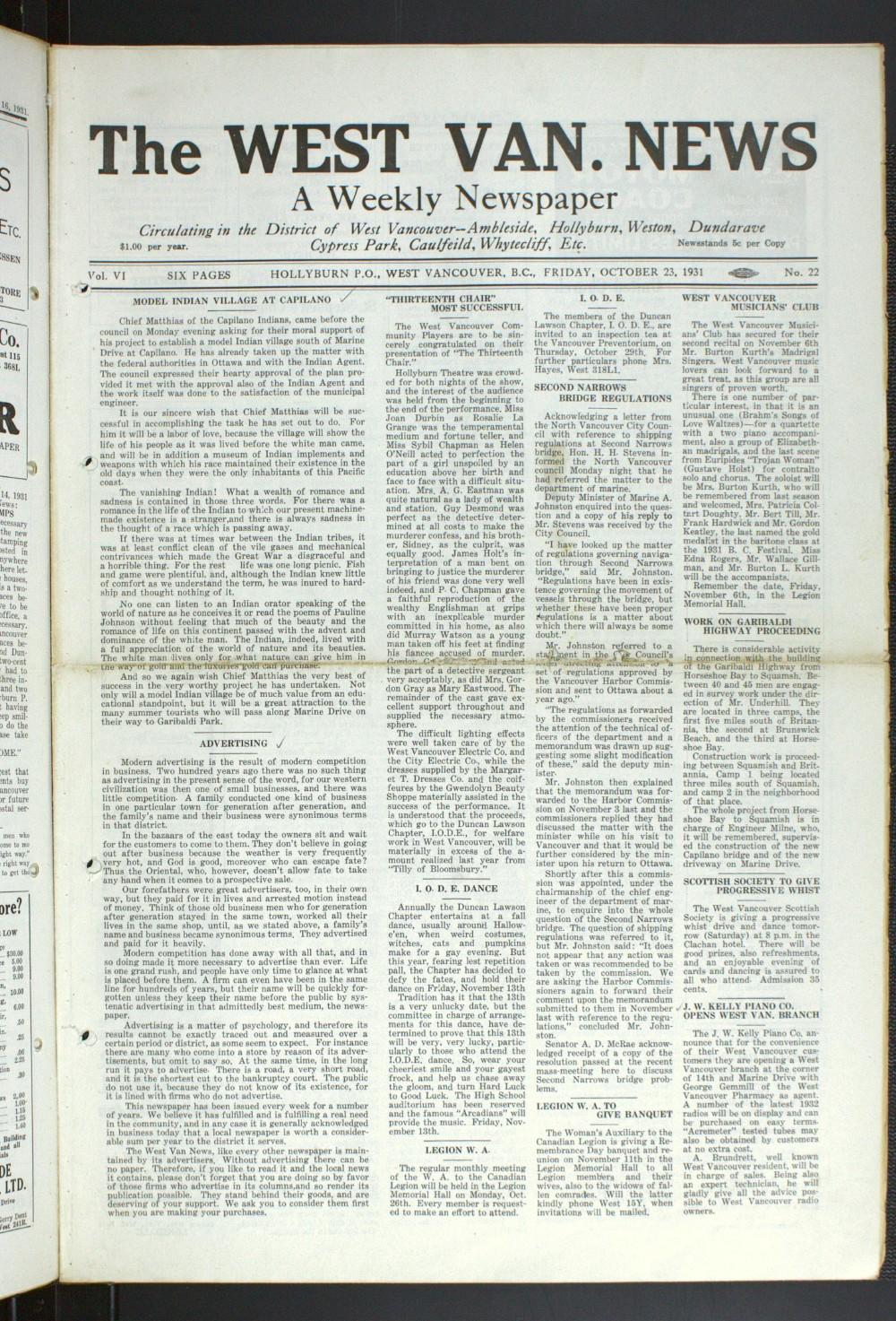 West Van. News (West Vancouver), 23 Oct 1931