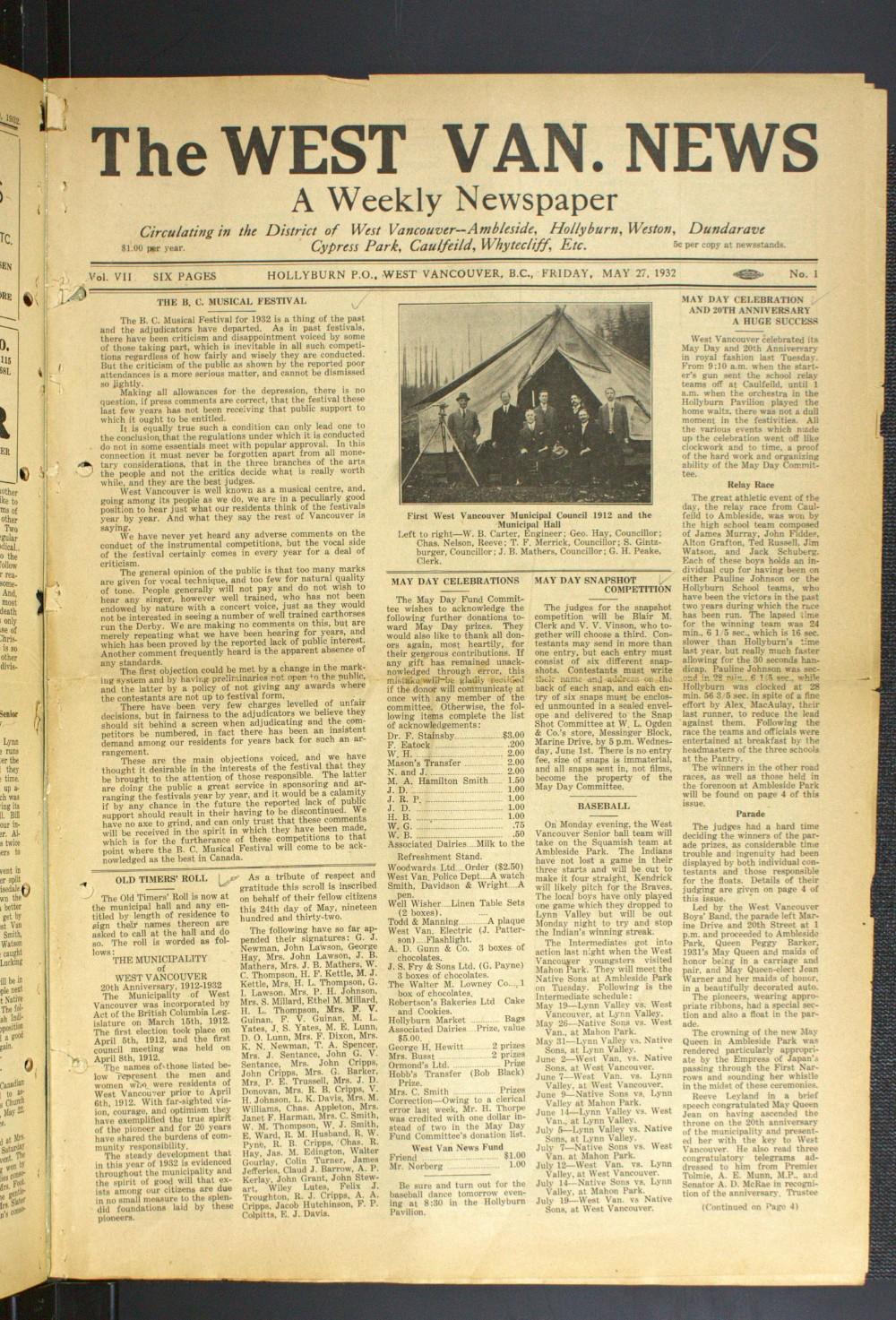 West Van. News (West Vancouver), 27 May 1932