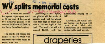 WV splits memorial costs