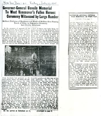 Memorial Arch Unveiling newspaper clipping