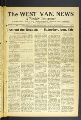 West Van. News (West Vancouver), 3 Aug 1933