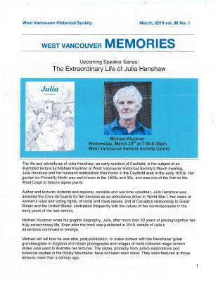 History-onics (West Vancouver, BC: West Vancouver Historical Society), 1 Mar 2019