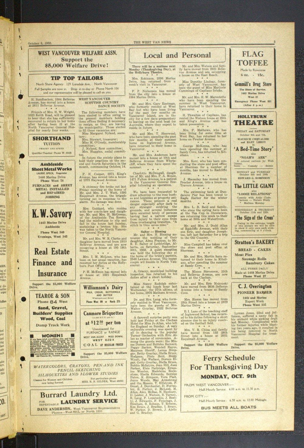 West Van. News (West Vancouver), 5 Oct 1933