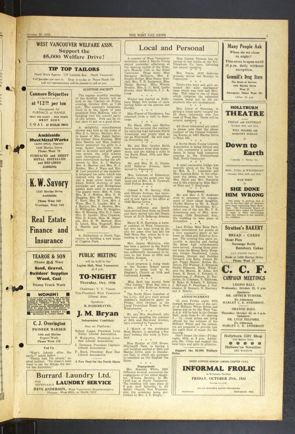 West Van. News (West Vancouver), 19 Oct 1933