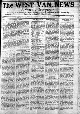 West Van. News (West Vancouver), 8 Aug 1935