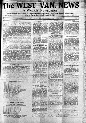 West Van. News (West Vancouver), 22 Aug 1935