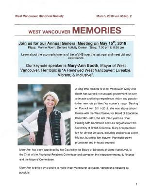 History-onics (West Vancouver, BC: West Vancouver Historical Society), 1 May 2019