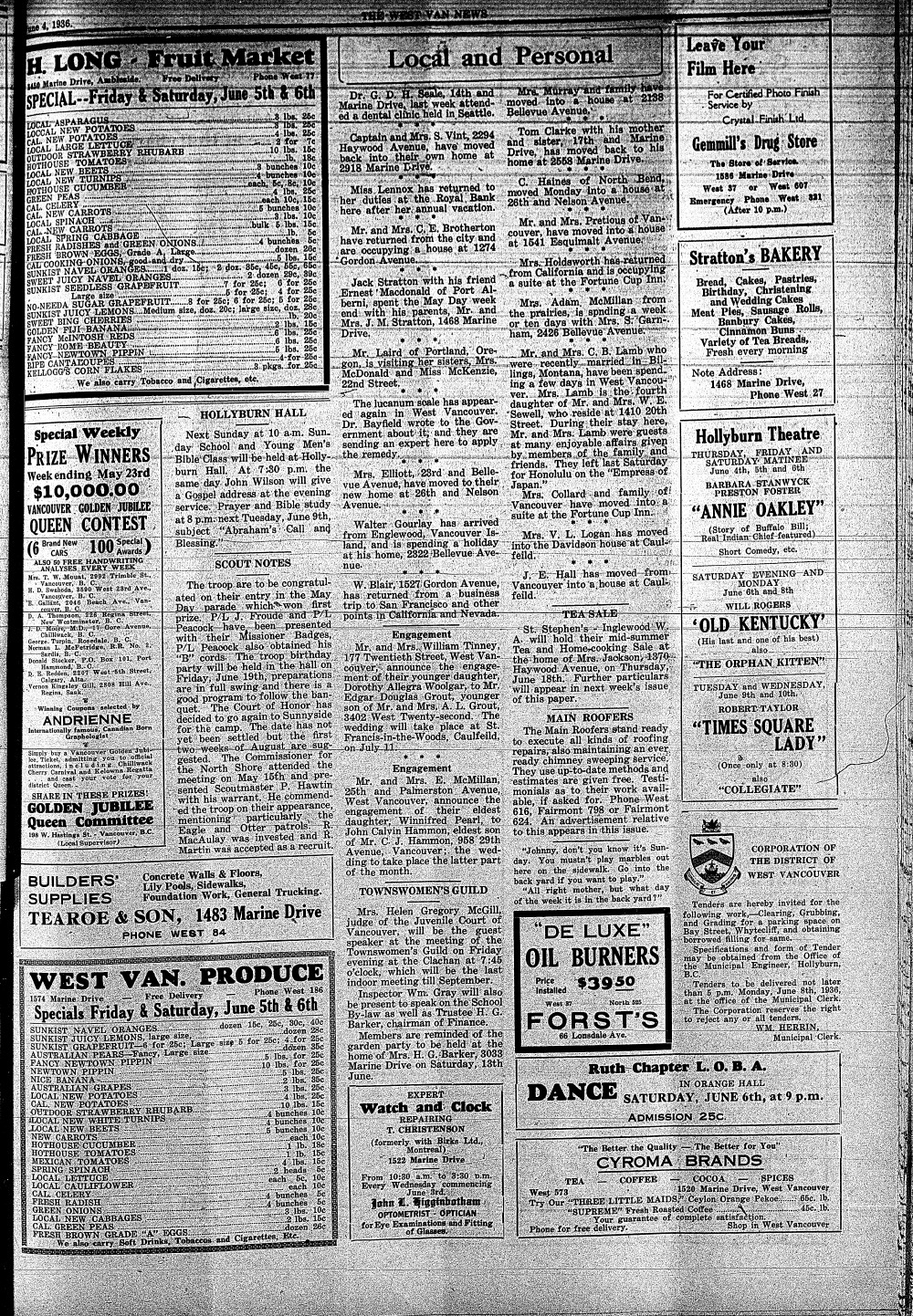 West Van. News (West Vancouver), 4 Jun 1936
