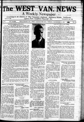 West Van. News (West Vancouver), 6 Nov 1931