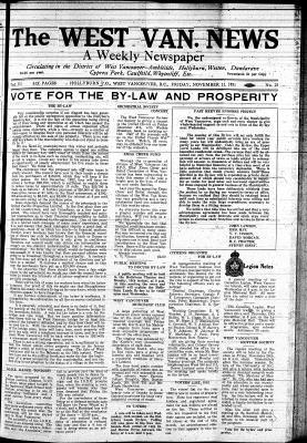 West Van. News (West Vancouver), 13 Nov 1931