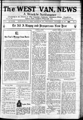 West Van. News (West Vancouver), 30 Dec 1931