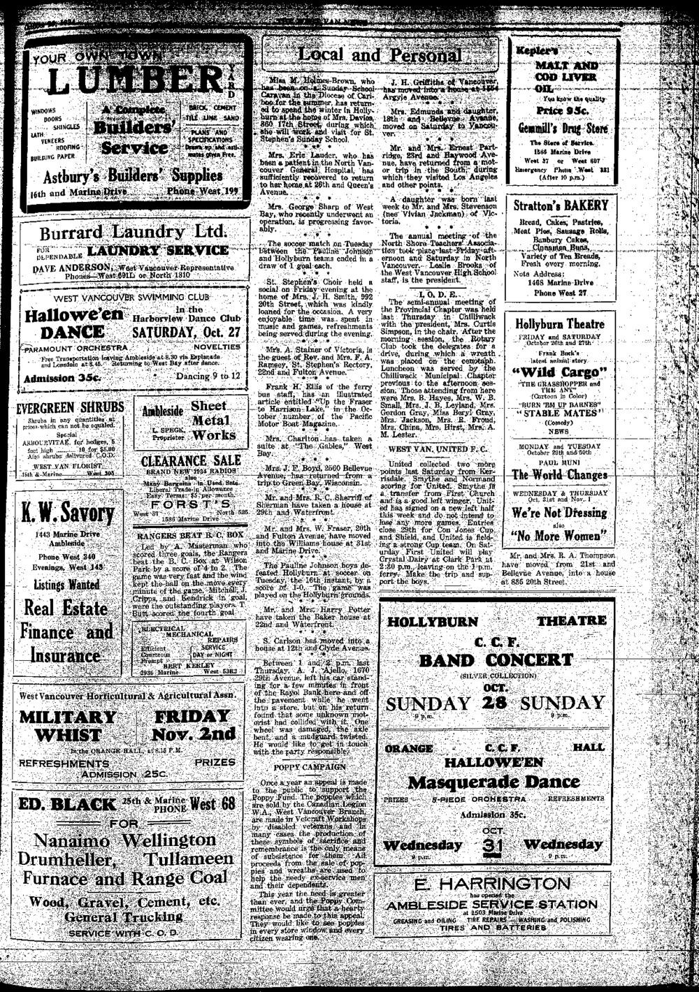 West Van. News (West Vancouver), 25 Oct 1934
