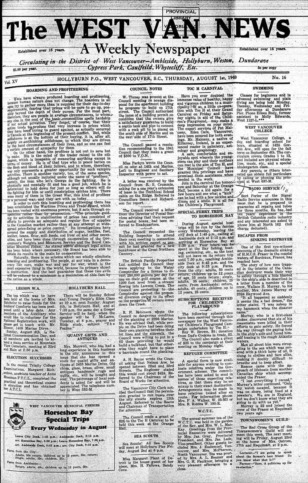 West Van. News (West Vancouver), 1 Aug 1940