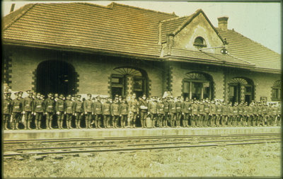 Soldiers at Train Station, Waterloo, Ontario