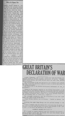 WWI Newsclippings - Great Britain's Declaration of War and editorial, Waterloo Chronicle August 6, 1914, p. 2