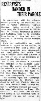 WWI Newsclippings - German Reservists in Kitchener Waterloo, Waterloo Chronicle August 13, 1914 p. 5