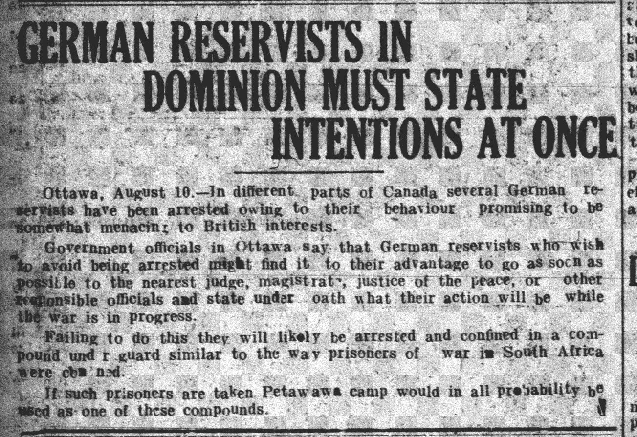 German Reservists in Dominion of Canada View: WWI Newsclippings ...