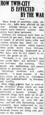 WWI Newsclippings - How Twin City Affected by War, Waterloo Chronicle article, August 13, 1914, p. 5