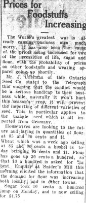 WWI Newsclippings - Prices for foodstuffs increasing, Waterloo Chronicle August 20, 1914 p. 2