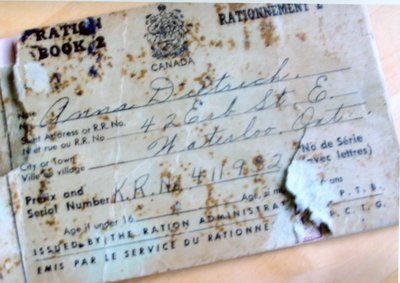 Ration book for Anna Dietrich, Waterloo, Ontario