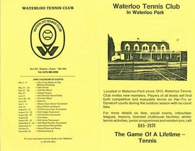 Waterloo Tennis Club in Waterloo Park Brochure 1989