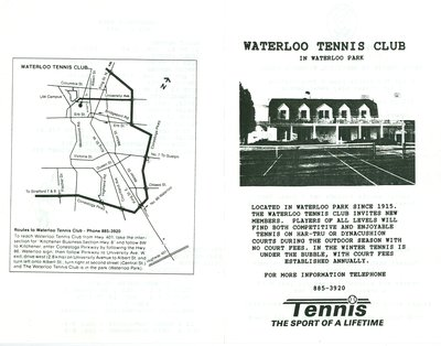 Waterloo Tennis Club in Waterloo Park Brochure 1990