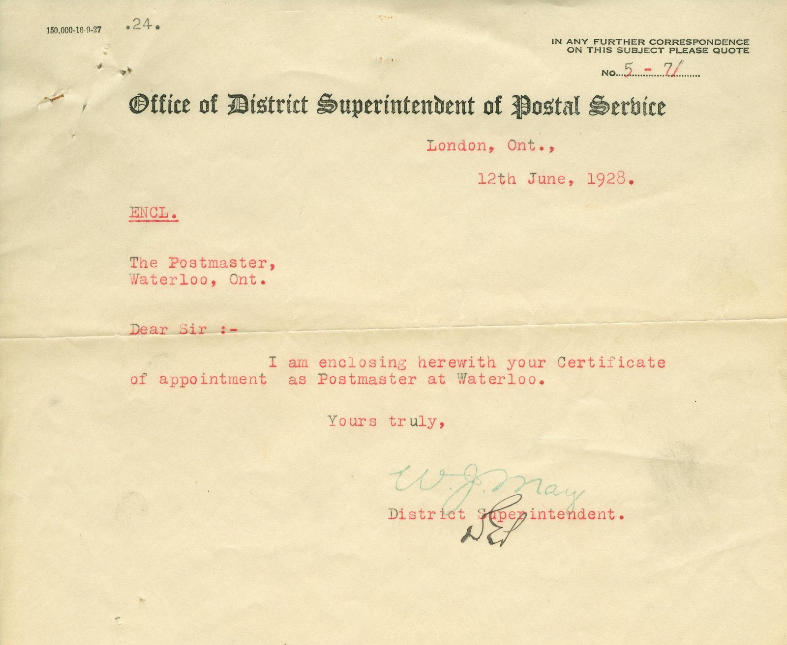 Waterloo Postmaster Certificate of Appointment Letter
