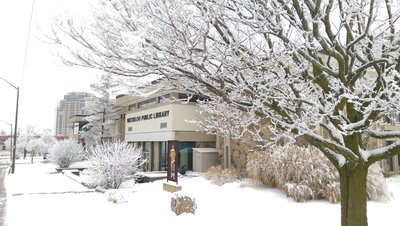 Waterloo Public Library in the Winter