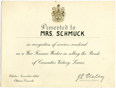 Certificate for Selling Victory Bonds